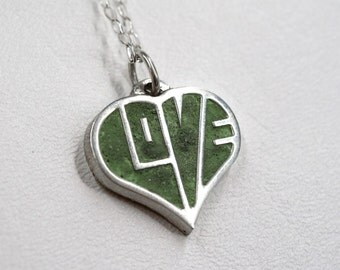 Silver Love Heart Necklace Concrete Pendant 3D Jewelry Sterling Custom
