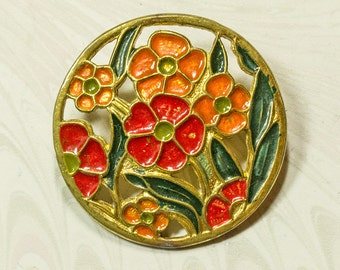 Art Deco Hand Painted Cold Enamel Brooch.Naive Red,Orange Flowers.Round FlapperBrooch,Bright Spring SummerJewellery.3.2cm Gift for Her.