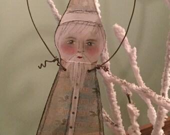 Artist Original Mixed Media Christmas Santa Claus Ornament