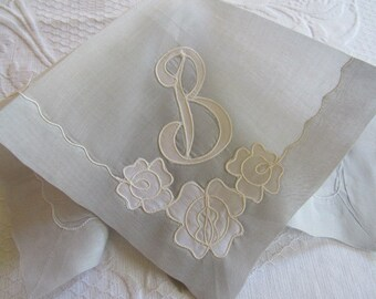 "Vintage Elegant Monogrammed ""B"" Handkerchief SILVER GRAY Satin Applique Anniversary Love Romance Bridal Birthday Mother's Day Gift Valentine"