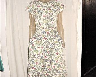 Vintage 50s Cotton Wrap Dress Flower Print M