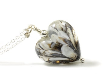 Glass Heart Necklace | Black and White Necklace | Petal Collection Lampwork Necklace | Long Glass Heart Pendant Sterling Silver | UK