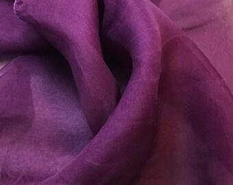 Hand Dyed AMETHYST PURPLE Silk Organza Fabric - 1 Yard