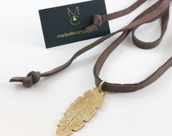 Gold and Brass Banana Leaf Artisan Pendant Leather Necklace Gold Filled Solid Handcarved
