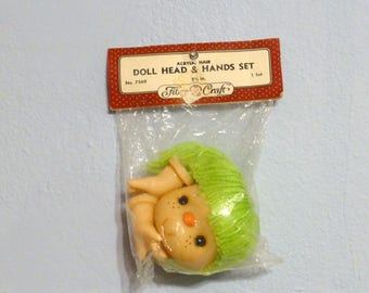 Doll Head and Hands Set Yarn Hair 3 1/2 inches No. 7569 Fibre Craft