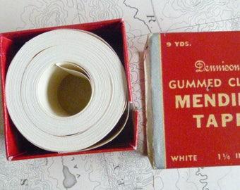 Vintage Dennison Gummed Cloth Mending Tape with Box