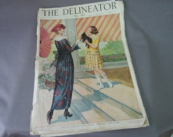 Vintage May 1919 Delineator Magazine, Edwardian Ladies Clothing Dresses, Stories, Homemaking