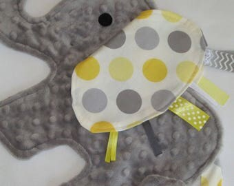 Spotted Yellow Elephant Sensory Security Blanket Lovey - MADE TO ORDER