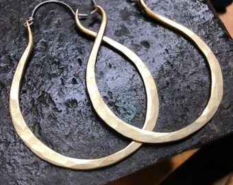 Large Brass Hoop Earrings Oblong Hoops Oval Hoop Earrings Hammered Hoop Earrings DanielleRoseBean Big Hoops