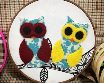owls on a limb hoop