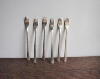 Vintage set of 6 silver appetizer forks, Sheridan Hotel