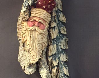 HAND CARVED original Santa Wood Spirit wall hanging with trees from 100 year old Cottonwood Bark