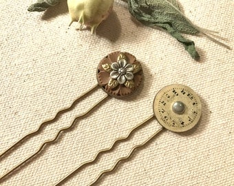 Steampunk Hair Fork Button Hair Stick Wildflower Hair Fork Nature Lover Steampunk Wedding Woodland Flower Vintage Watch Face Unique Hair Pin