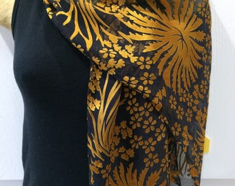 Silk Devore Dyed Scarf, Yellow over Black