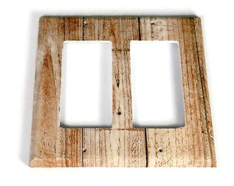 Double Rocker Switchplate  Light Switch Cover  Switch Plate in Whitewash (284DR)