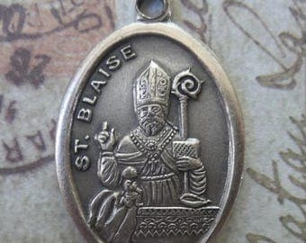 ON SALE Saint Blaise Holy Italian Medal Protector Of Wild Animals, Patron Of Sufferers Of Throat Ailments Maladies, Pray For Us Religious Me