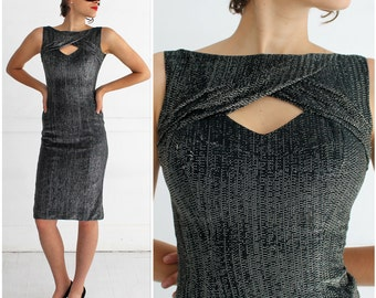 Vintage 1960s Black and Silver Metallic Lurex Wiggle Party Dress with Cutout Neckline | Small