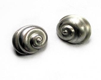 Pewter Snail Earrings, 70s Pierre Cardin Earrings, Vintage Pewter Earrings, Designer Earrings, Clip On Earrings, Snail Shell Earrings