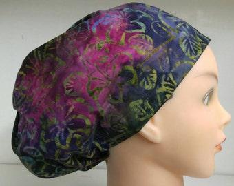 Womens Hybrid Style Surgical Scrub Hat Cap Batik Deep Purple Pink