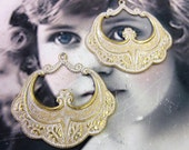 Gold Plated Frosted White Patina Brass Floral Pendant Earring Hoops 202WHT x2