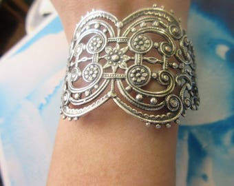 Sterling Silver Ox Plated Brass Art Deco Style Filigree Bent Can be Made Into Bracelet 85SOX x1