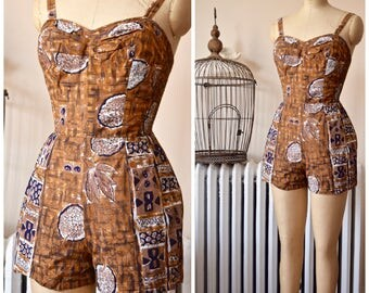 Kona | Vintage 1950's Hawaiian Kapa Print Playsuit Vintage Romper Cotton Sun Suit Tiki Tapa Print B. Altman Made in Hawaii - MINT Condition