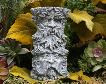 Greenman Statue - 4 Faces in 1 Tree Spirit Totem - Green Man Tea Light Candle Holder - Concrete Garden Sculpture - Guardian of the Forrest