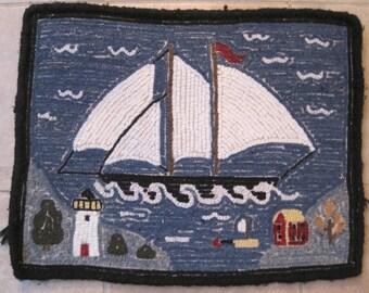 VINTAGE NAUTICAL Wool Stitchery Rug  Wall Hanging Cape Cod