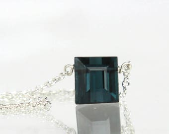 Indicolite Blue Tourmaline Necklace Solitaire - Blue Tourmaline Square Cut in Solid Sterling