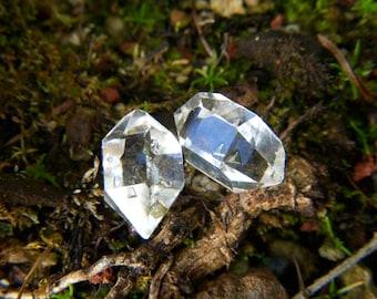 Raw Herkimer Diamond Crystals - Pair - 13mm - 9.15 tcw
