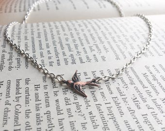 Small Copper Bird Mixed Metal Necklace