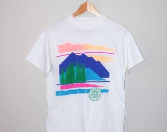 80s paper thin destination t-shirt 1980s vintage Utah neon mens graphic tee small