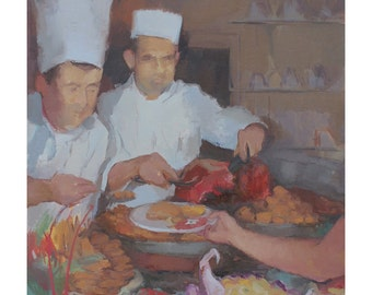 chef painting- food art print, food lover gifts, food wall art, figurative painting by Michelle Farro