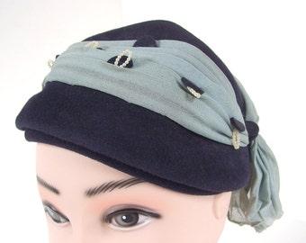 Vintage Navy Blue Half Hat with Pleated Powder Blue Scarf