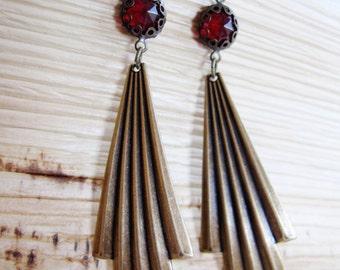 Art Deco Earrings, Dangle Drop, Long, 1920s Style, Brass Fan, Ruby Red, Retro, Long, Botanical Earrings, Gardendiva