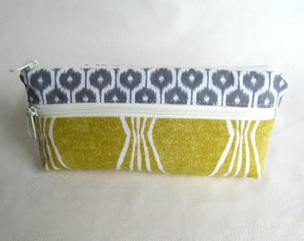 DOUBLE ZIP POUCH // Two Compartment Pouch //  Knitting Accessory  // Knitting Tool Storage