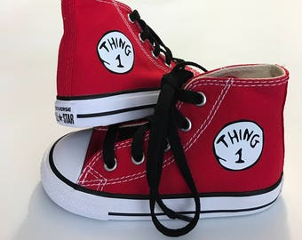 Thing 1 Personalized Custom  High Top  Converse  - Infant and Kids Cat in the Hat