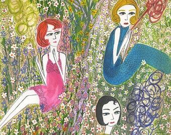 Filles de jardin.   Original watercolor painting by Vivienne Strauss.