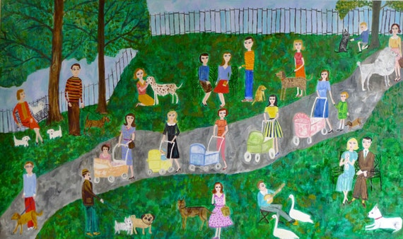Saturday in the park. Original oil painting by Vivienne Strauss.