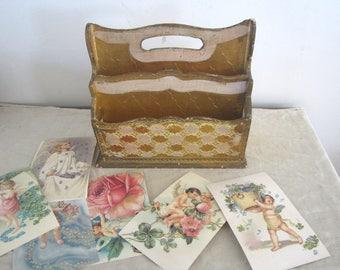 Florentine Letter Holder Italian Handled Florentine Organizer Gold Gilt Wood Box Florentine Divider Box Paper Holder Florentine Mail Storage
