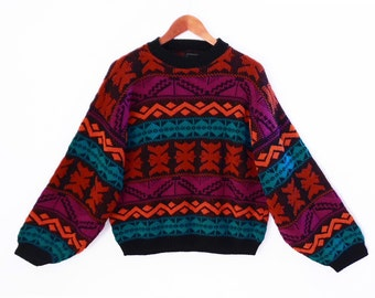 80's tribal slouch sweater // vintage slouchy cropped pullover // southwestern stripes // SUNSET colors // women's size M L