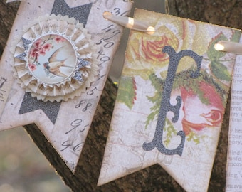 Vintage EASTER  Inspired Banner Garland Victorian Paper Rosettes Bird Pink Yellow Floral Roses