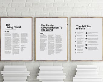 """18"""" x 24"""" THREE PACK LDS Modern Proclamation to the Family Articles of Faith and The Living Christ You Print Printable"""