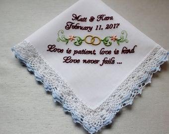 Bible Verse Wedding Handkerchief , Personalized Wedding Hankie, Embroidered Wedding Handkerchief