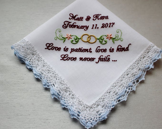 Bible Verse Wedding Handkerchief , Personalized Wedding Hankie, Embroidered Wedding Handkerchief