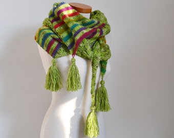 Crochet shawl, green with rainbow colors, stripes, P520