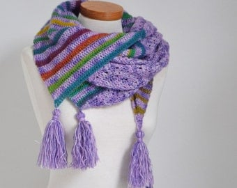 Crochet shawl, purple with rainbow colors, stripes, P521