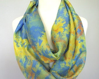 "Hand Dyed Silk Infinity Scarf - 11 x 76"", Yellow, Orange & Blue Long Infinity Loop"