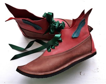 UK 4 / US 6, Womens Woodland fairy tale Peter Pan, leather Pixie boots, WISP 3207 conker, rhubarb, damselfly