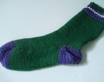 Hand Knit Alpaca Wool Socks Womens Medium 7-9 Pansy Garden